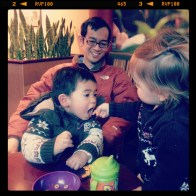 Playing with Benjamin in a cafe, before braving the subway crowds