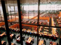 The nesting, luminous structure of the main reading room at the library