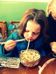 Delicious noodles at Pemba Tashi's wife's restaurant