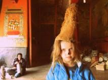 We got all the kids to try on a monk's hat at Sera (Gelukpa: yellow hat sect)