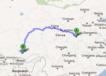 Map of our 1780 mile trip from Xi'an to Lhasa