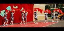 Fan Dancing in Hawaiian outfits