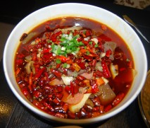 We also ate this spicy Sichuan tofu and organ soup - gotta love the chilies!