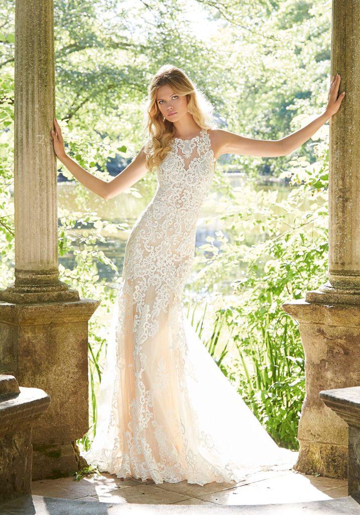 mori-lee-2042 wedding dresss. Figure hugging lace dress with racer neckline