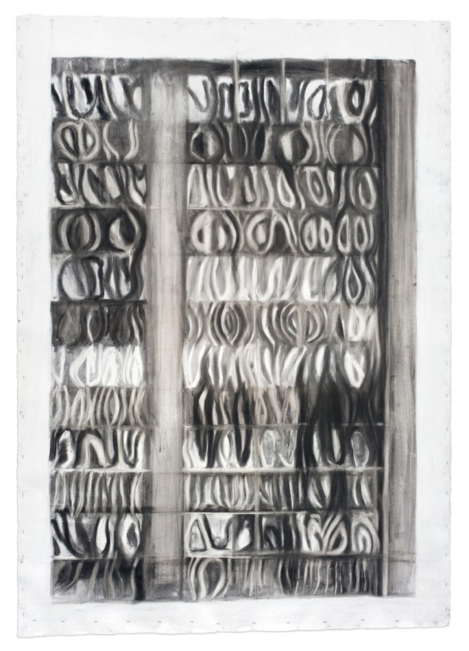"""""""Tower 2, II"""", charcoal on paper, 72"""" x 55"""", 1997"""