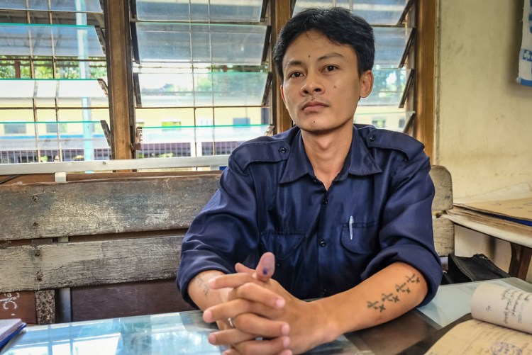 Ticket seller at Yangon Central Railway station