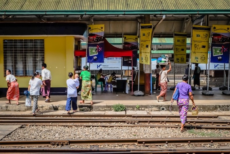 Locals at Yangon Central Railway station