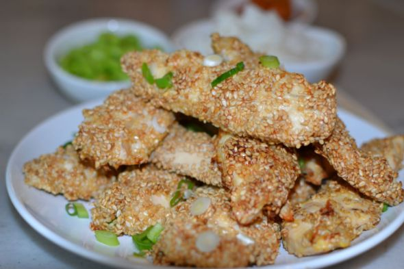 Sesame Chicken Fingers with Peanut Dipping Sauce