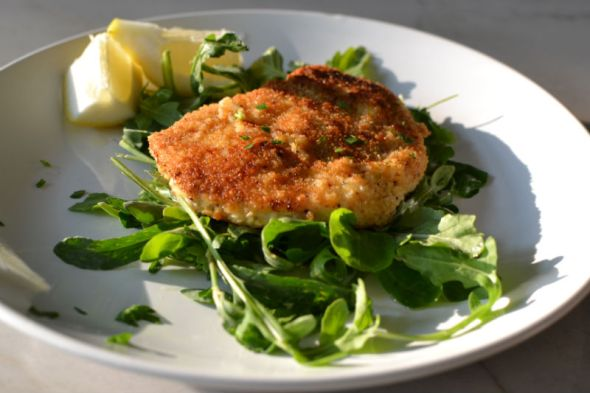Panko Crusted Swordfish with Arugula and Watercress