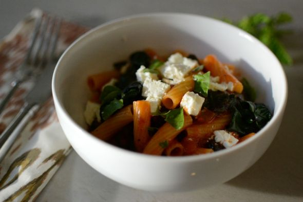 Rigatoni with Rainbow Chard and Feta