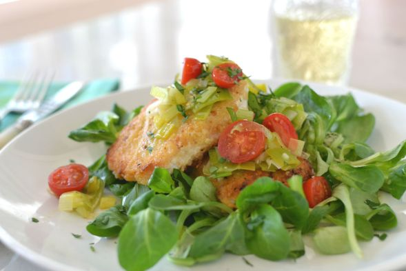Crispy Swordfish Cutlets with Leeks and Tomatoes