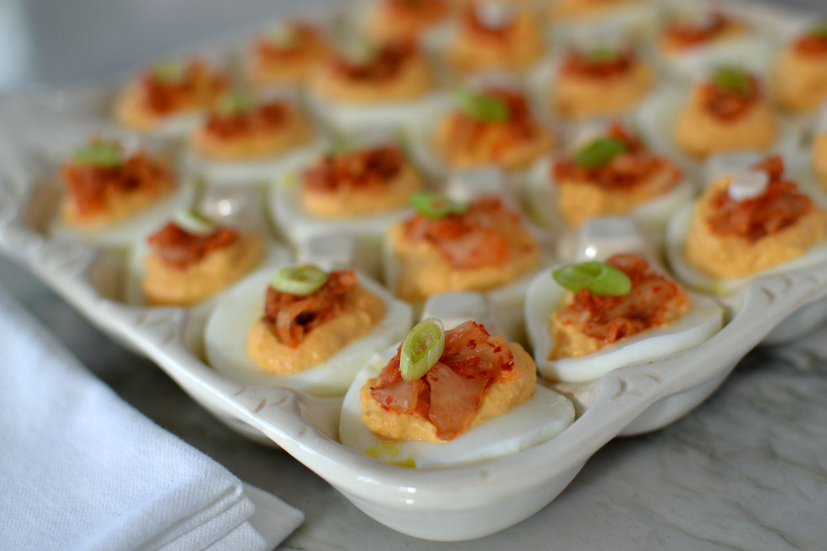 kimchee deviled eggs