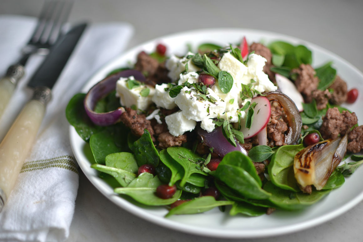 Salad with Lamb Feta and Seared Red Onion