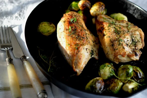 Cast Iron Chicken Breasts with Brussels Sprouts