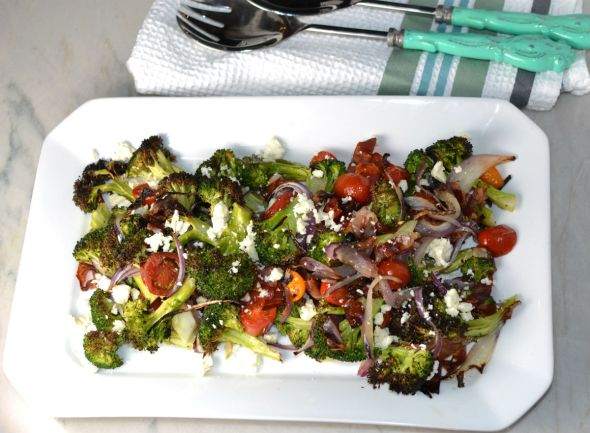 Roasted Brocoli Salad with Red Onion Tomatoes and Feta