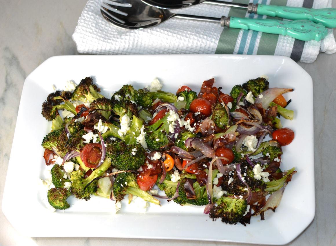 Charred Brocolli salad with feta