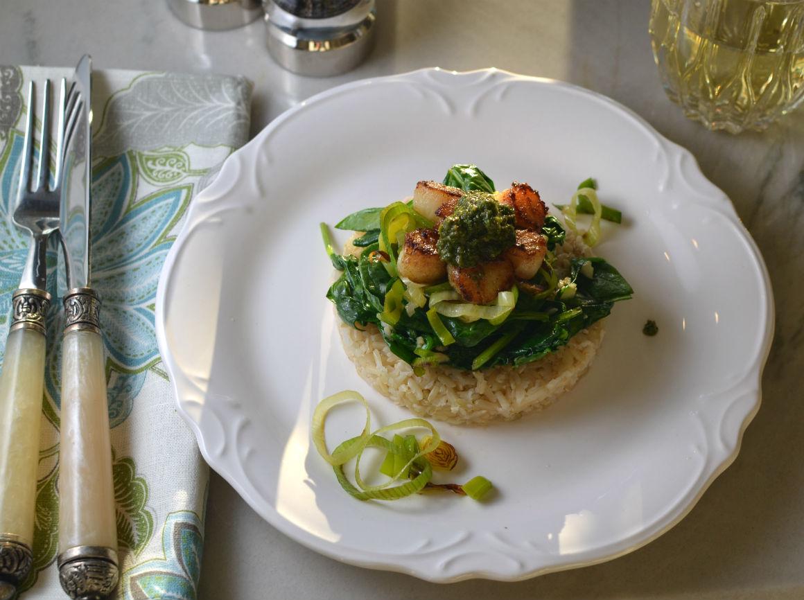 scallop spinach rice