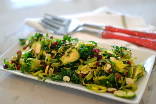 Brussels Sprout Kale and Pomegranate Salad