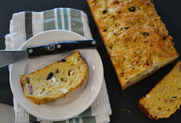 Goat Cheese Bacon and Olive Quick Bread