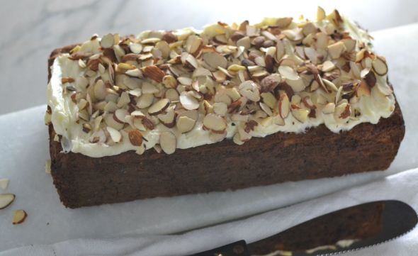 Cherry Banana Bread with Toasted Almonds