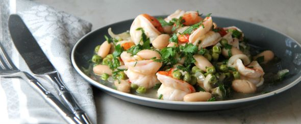 Shrimp Scampi with Peas and Beans