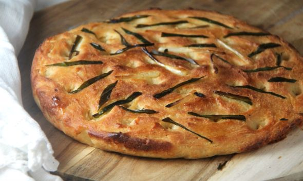 Focaccia with Ramps or Scallions