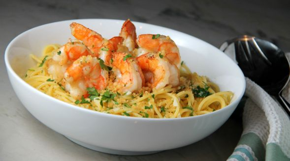 Lemon Pasta with Shrimp and Garlicky Breadcrumbs