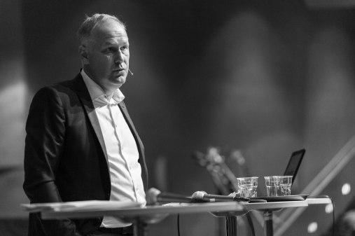 """Jonas Sjöstedt på seminariet """"En röd ekologisk omställning"""". Fotograf: Jöran Fagerlund."""