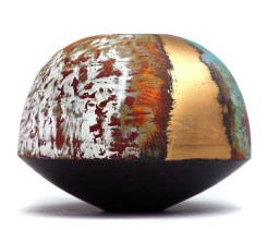 Pot with round multicoloured top and black conical base