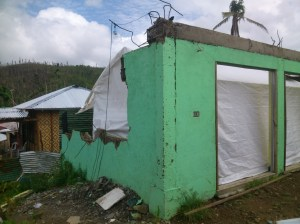 Feb 10, 2014 shot of Marabut Christian Community Church, now with a tent within the former ruins of the old building