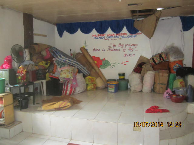 Ceiling damage in PAMI Bulabog Church