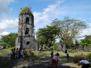 Cagsawa Ruins consists of an old bell tower left from an old Spanish church that go covered by mud and fall out from an eruption of Mayon Volcano in the 1800s.