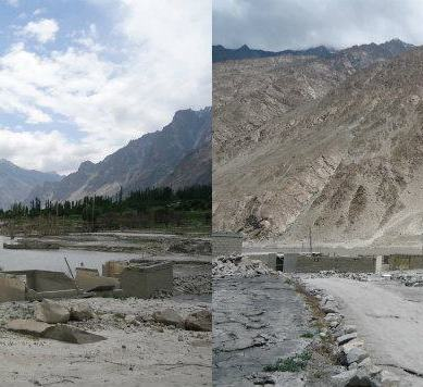Water level rising in the dammed Hunza River