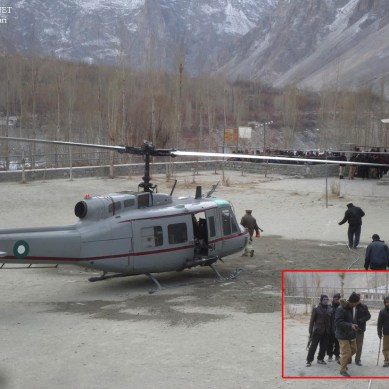 Chopper makes first sorite to Gojal Valley, five stranded commuters evacuated on the first day