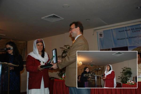 Ms. Bibi Miraj accepting the award and sharing her views (inset)