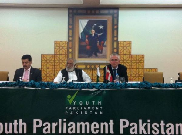The Danish Ambassador and Deputy Speaker of Natinoal Assembly, Faisal Kundi, share the stage at the inaugural session of the Youth Parliament