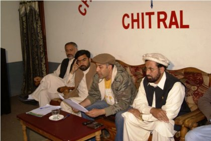 PTI regional leaders addressing a press conference in Chitral