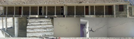 A combination of photographs depicting the deplorable condition of the newly constructed school building in Hussaini village of Gojal Valley, upper Hunza