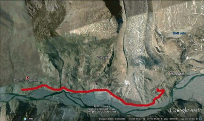 The red line shows approximate location of the KKH which was destroyed by the dammed Hunza River. Image Courtesy: Google Earth