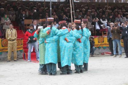 Students of Al-Amyn Model School, Gulmit, perform Seeni-Sai, a Wakhi folk song. Photo: Mueez Shah