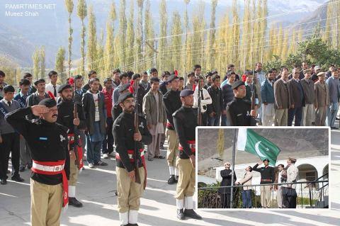 Flag hoisting ceremony in Aliabad, Hunza Photo: Mueez Shah