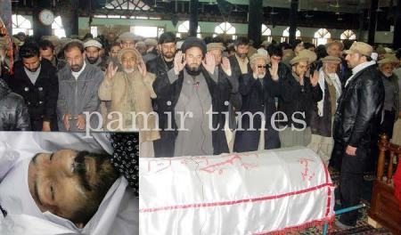 Funeral prayer of slain Tauqeer Abbas being offered