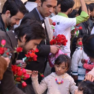 Pluralism: Volunteers distribute Roses and Christmas Cards at Churches in twin cities