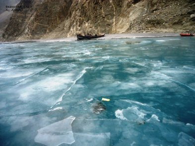 The dammed Hunza River remains frozen throughout the winters