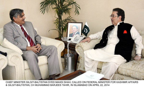 CHIEF MINISTER GILGIT-BALTISTAN SYED MAHDI SHAH, CALLED ON FEDERAL MINISTER FOR KASHMIR AFFAIRS & GILGIT-BALTISTAN, CH MUHAMMAD BARJEES TAHIR, IN ISLAMABAD ON APRIL 22, 2014