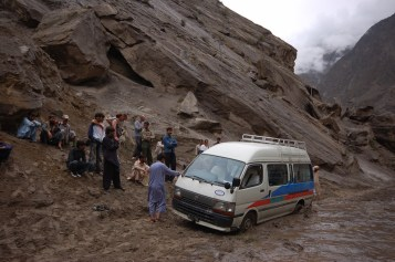 The roads in Gilgit-Baltistan get blocked during heavy rains as floods hit the valley. File Photo