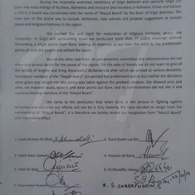 "9 members of Gilgit-Baltistan Masajid Board resign, saying govt not ""serious in fight against terrorism"""