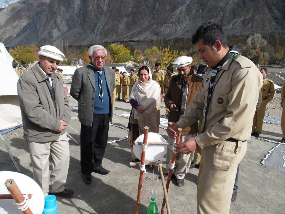 Chief Guest visits the camping site of the scouts training