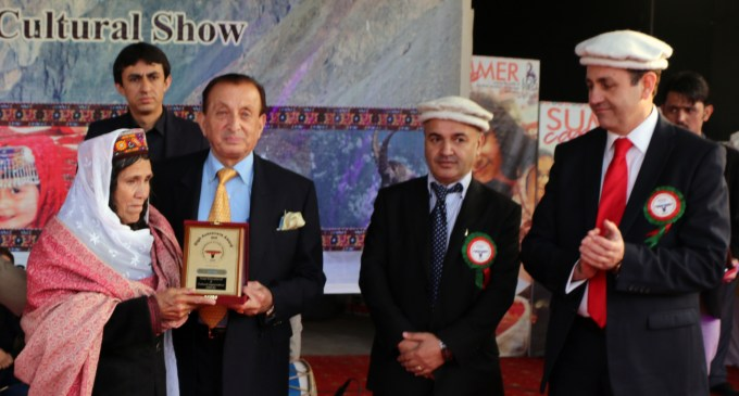 Islamabad: Mother of mountaineer Samina Baig receives an award on her daughter's behalf from Governor Mir Ghazanfar Ali Khan