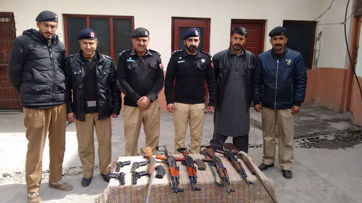 Gilgit Police seized weapons from a car in Gilgit